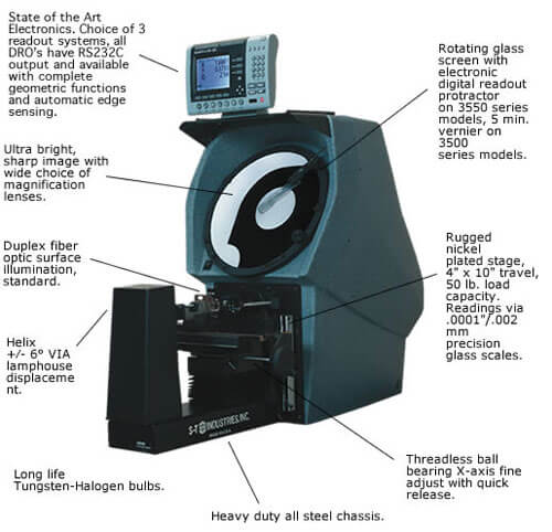 Optical Comparator 3500 Series - S-T Industries with Quadra-Chek 220E - 14 in.