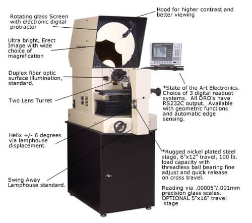 Optical Comparator 3700 Series - S-T Industries with Quadra-Chek 321E DRO - 14 in.